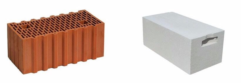 Керамический блоки и блок из газобетона