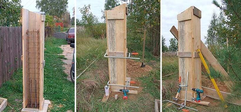 Как сделать столбы для забора из бетона